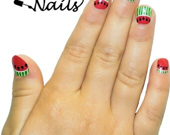Kid's Size Watermelon Nail Wraps. Mommy and Me Nail Polish Strips. Nail Decals.