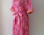 70's Pink Elephant Caftan Novelty Print Dress Belted Thai Cotton Tunic Hostess Gown L XL