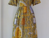 Vintage Traditional Congolese Dress African Cotton Print Ethnic Congo L