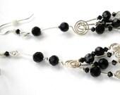 Long, Elegant Sterling Silver and Black Swarovski Crystal Earrings