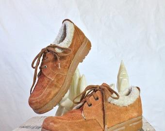 Vintage 70's Pumpkin Suede Leather Ankle Shoes Sz 7/8