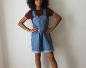 Vintage overalls/Denim overall shorts/90's shortalls/Jean romper/Long jean shorts