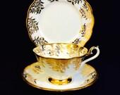 Royal Albert White with Gold Fern Trio