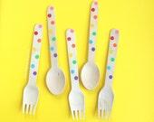 Confetti Rainbow Spoons-50 Polka dot forks-Unicorn birthday-rainbow dot spoons-rainbow dot forks-rainbow party-rainbow birthday-50