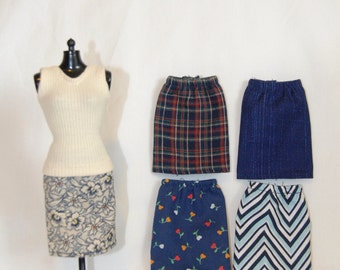 Barbie Clothes Tailor Made by Tunafairy - A Slim or Pencil Skirt in a Choice of Navy Prints for Barbie, FR, Project Mc2, or Similar
