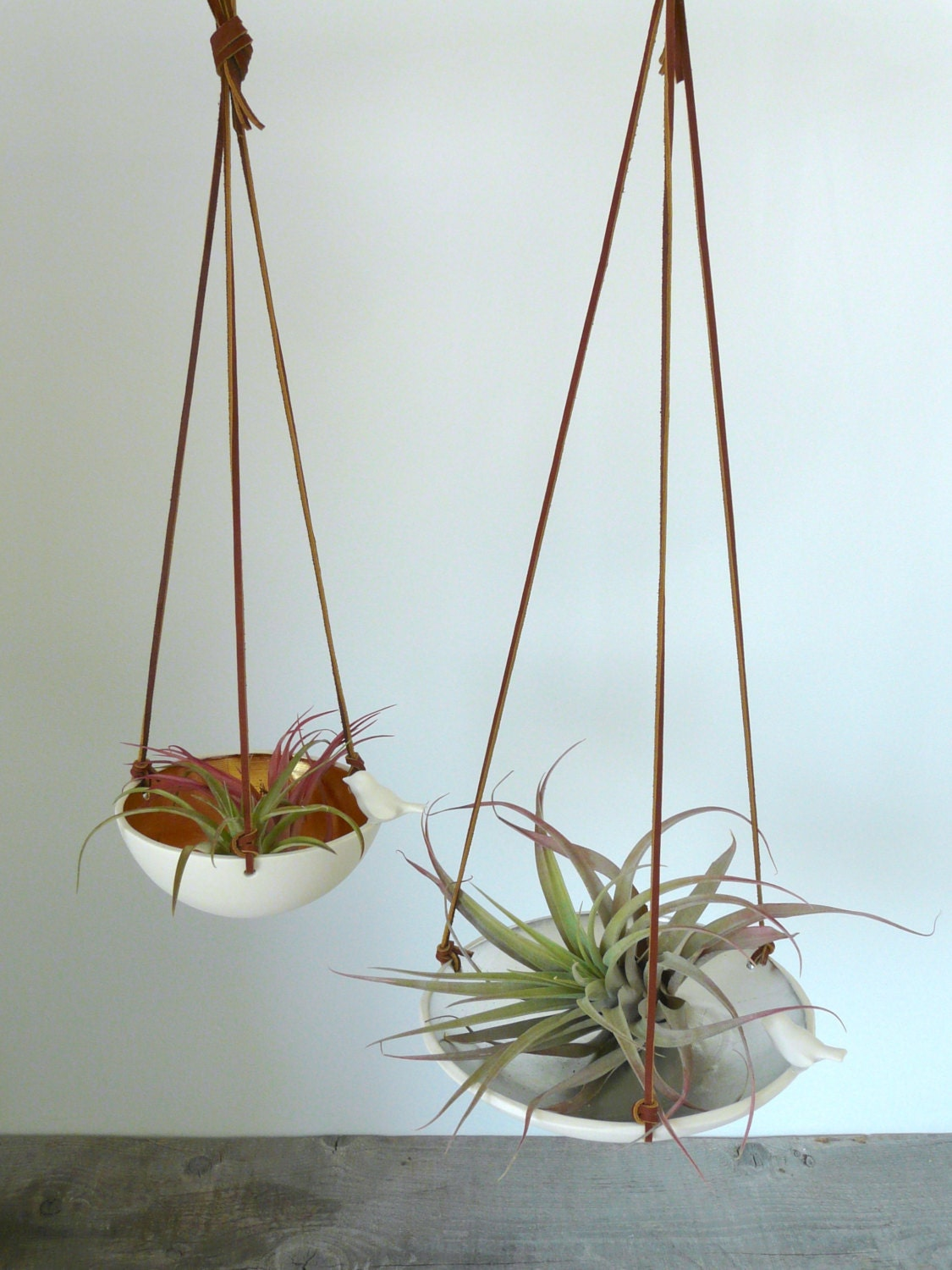 Hanging Air Plant Holder, Metallic Leafed Porcelain Bird Dish with Leather Cord, Copper, Gold or Silver
