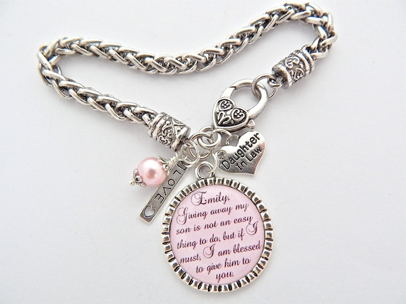 Daughter in law bracelet bride to be gift charm bracelet future