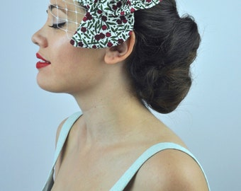 Floral Print Bow Fascinator with Ivory Net Veil