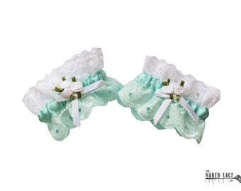 W6 Sweet Lolita Mint and White Rose Wrist Cuffs