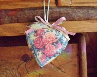 Decoupage Heart Ornament, Victorian Rose Heart with Ribbons