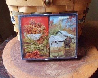 Grist Mill Double Deck Playing Cards, Deck of Cards with Pine Cones in Plastic Case