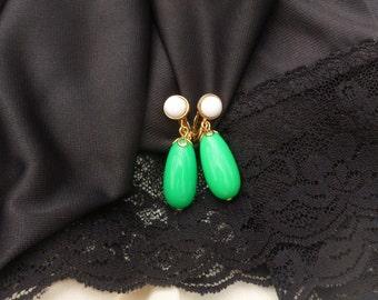 Green Teardrop Earrings, Avon Green and White Dangle Clip-on Earrings