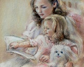reading, Art nursery Mother and daughter 'Bedtime Story'  Laurie Shanholtzer Canvas or Cotton art paper print,