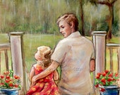 "Father Daughter, ""Rainy Day..Just Daddy and Me""  by Laurie Shanholtzer Canvas or Cotton art paper print"