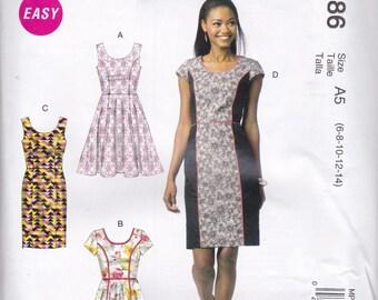 Princess Seam Dress Pattern McCalls 6887 P386 Sizes 6 - 14 Uncut