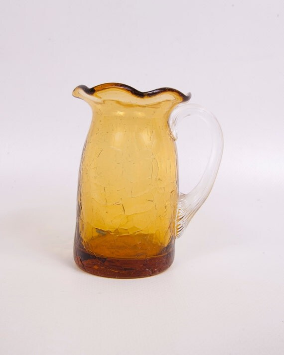 Vintage Amber Crackle Glass Kanawha Glass By LeVintageGalleria