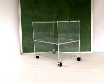 Vintage Lucite Cart / Lucite Bar Cart / Acrylic Office Cart  / Acrylic Nightstand