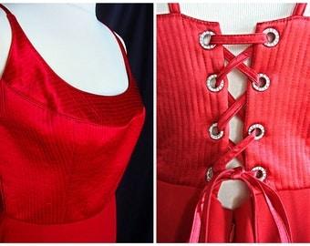 Vintage women red bright long sexy evening dress corset style like Pretty Women.
