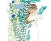 Art Print - Your New Best Friend - 8x10in Mini Owl