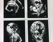 Gothic Art,Zombie Art,  Gothabilly, Rockabilly Zombie Girls ,Graveyard,Black and White, home decor, Crow, Postcard set x 4 , set A