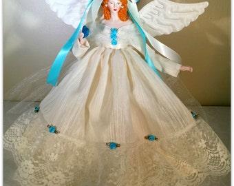 Angel Tree Topper, Red Haired Porcelain OOAK, Handmade Angel Doll