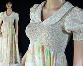 70s Maxi Dress, Candi Jones, Hippie, Boho, Patchwork, Smocked, Coral, Green