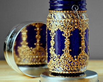 Bohemian Inspired, Hand Painted Mason Jar Lantern with Wire Hanger, Deep Plum Tinted Glass with Golden Filigree Surface