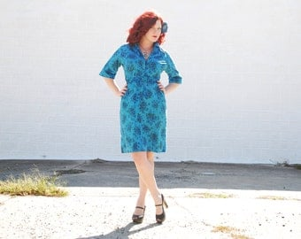 Blue floral 1950s dress, L XL cotton day wiggle pin-up, turquoise, plus size Alysen SALE