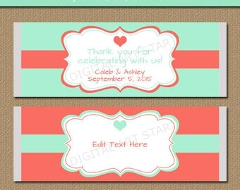 EDITABLE Mint & Coral Chocolate Wrappers - Printable Bridal Candy Wrappers - Anniversary Party Favors - Wedding Candy Labels - DIGITAL