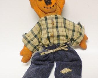 Primitive Pumpkin Doll, Halloween Decor, Country Farmhouse Dolls