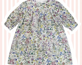 Liberty Print Peter Pan Smock Dress for Baby to 6 Years