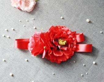 Bridal Flower Sash Belt - Wedding Dress Sashes Belts - Harvest Red Deep Red Ribbon Belt