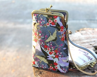 Wristlet phone case two compartment, Japanese fabric floral and cranes, Eyeglasses case, iPhone 6 plus, Galaxy note