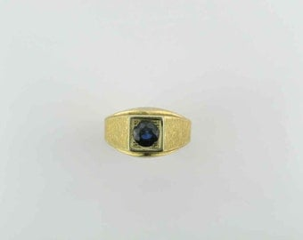 Florentine Finished Blue Sapphire Ring; Heavy Gold Blue Sapphire Ring; Alternative Wedding Band Ring; Ring for the Right Hand