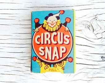 Vintage Circus Snap game cards to play, for art, assemblage or card making, wonderful vintage illustration and colours. Complete set.