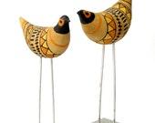 Qty 2 ORIGINAL Londi Bitossi Ceramic Bird Sculpture Metal Stilts Geometric Gold Tan Orange Yellow Black MCM Italy Vint Ex Cond