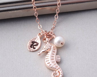 Seahorse Necklace, Rose Gold Personalized Necklace, Rose Gold Initial Necklace with Pearl, Seahorse Jewelry, Personalized Jewelry Rose Gold
