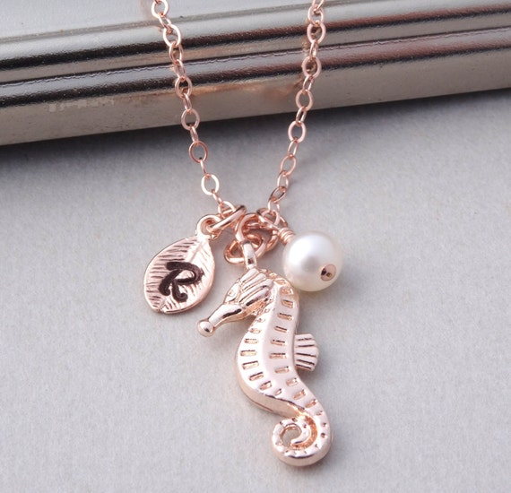 Seahorse necklace rose gold personalized necklace rose gold for Rose gold personalized jewelry