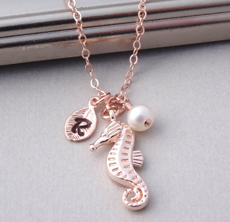 seahorse necklace rose gold personalized necklace rose gold. Black Bedroom Furniture Sets. Home Design Ideas