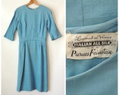 50s 60s Fleur De Lis Parnes Feinstein Dress / Blue Silk Wiggle Dress / Shantung Silk Cocktail Dress / 1950s Bombshell Dress / Small Medium