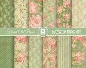 Floral Digital Paper, Floral Vintage Digital Paper Pack, Green Roses, Vintage Scrapbook Paper, Shabby Chic Roses - INSTANT DOWNLOAD  - 1969