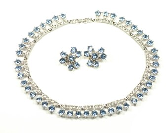 Bogoff Rhinestone Necklace Sky Blue Crystal Set - Earrings