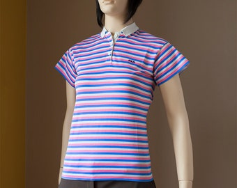 Fila Vintage Polo Shirt Short Sleeve 70s 80s Bjorn Borg Collared Striped Pink White Blue Shirt S M Small Medium