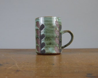 Briglin coffee or tea cup / coffee mug / vine leaf design / mid century / studio pottery / collectable / 815*37