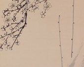 Japanese Fine Art Wall Hanging Scroll Painting Inkwash Art Bird and Flower Kakejiku –1508022