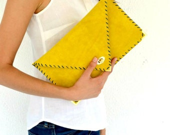 Leather clutch / Yellow leather bag / Mustard leather bag /  Envelope clutch / Leather purse