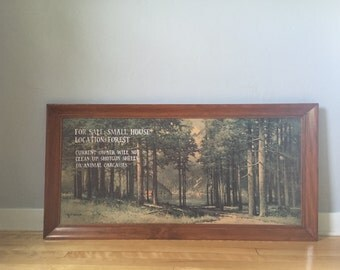 Sale! FREE SHIPPING! Ron Swanson Cabin Ad, vintage painting with quote, Parks and Rec quotes, forest painting
