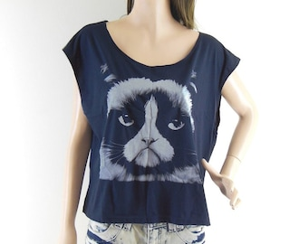 Cat  Tshirt Cat shirt Grumpy Tshirt women shirt ropped tee crop tops