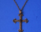 Wire Wrapped Cross necklace pendant  Copper and Garnet natural