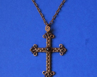 Wire Wrapped Cross necklace pendant  Copper and Garnet natural Copper-jewelry MW35